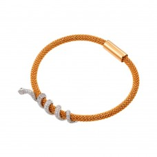 **Closeout** Sterling Silver Rose Gold Plated Snake Wrap Bracelet - ITB00185RGP