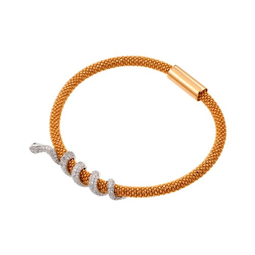 -Closeout- Wholesale Sterling Silver 925 Rose Gold Plated Snake Wrap Bracelet - ITB00185RGP