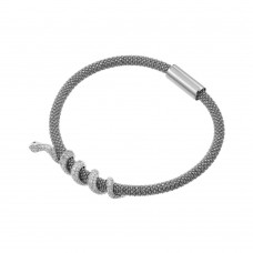 **Closeout** Wholesale Sterling Silver 925 Rhodium Plated Snake Wrap Bracelet - ITB00185RH