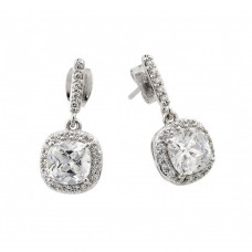 Sterling Silver Rhodium Plated Cluster Dangling Earring BGE00430