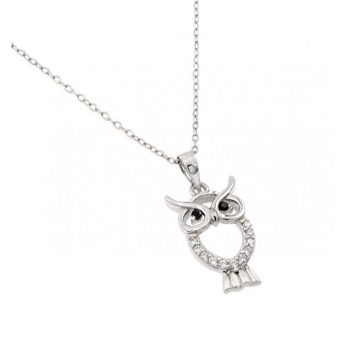 Wholesale Sterling Silver 925 Rhodium Plated Owl Pendant with CZ - BGP00989