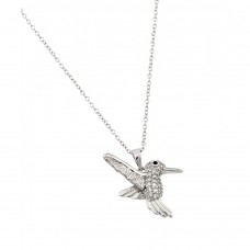 Wholesale Sterling Silver 925 Rhodium Plated Humming Bird Pendant - BGP00994