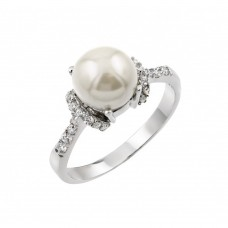 Wholesale Sterling Silver 925 Rhodium Plated Synthetic Pearl Cluster Ring - BGR00904
