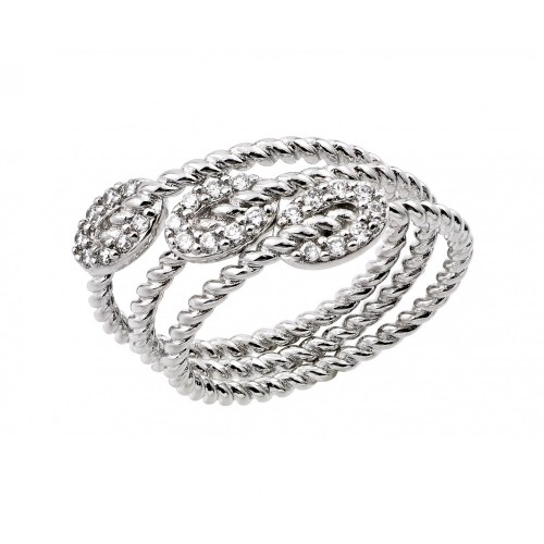 Wholesale Sterling Silver 925 Rhodium Plated Rope Oval Ring - BGR00919