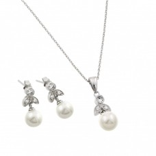 Wholesale Sterling Silver 925 Rhodium Plated Pearl Flower Set - BGS00452