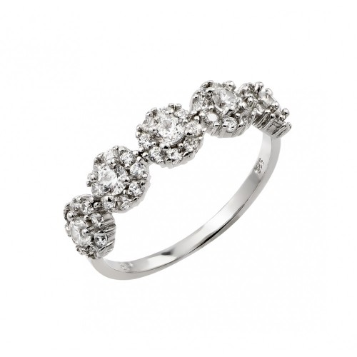 Wholesale Sterling Silver 925 Rhodium Plated 5 Cluster CZ Ring - STR01023