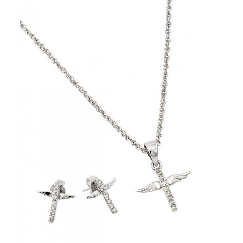Wholesale Sterling Silver 925 Rhodium Plated Wings Set - STS00498