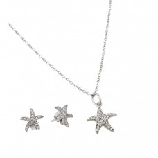 Wholesale Sterling Silver 925 Rhodium Plated Starfish Set - STS00499