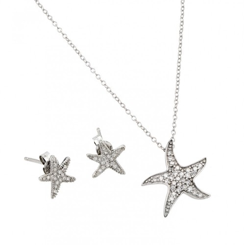 Wholesale Sterling Silver 925 Rhodium Plated Starfish Set - STS00500