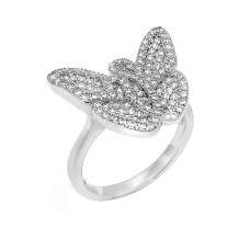 Sterling Silver Rhodium Plated Micro Pave CZ Butterfly Ring - ACR00051