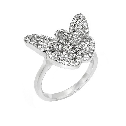 Wholesale Sterling Silver 925 Rhodium Plated Micro Pave CZ Butterfly Ring - ACR00051