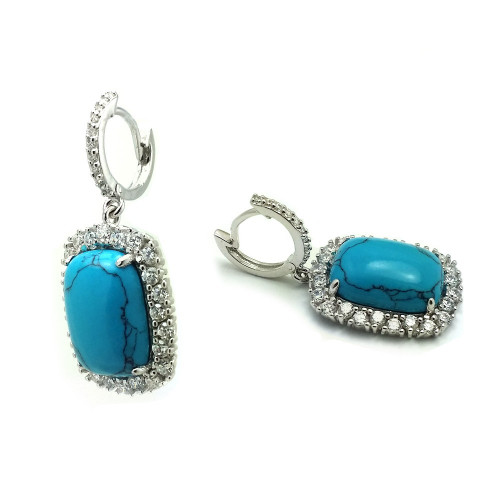 Wholesale Sterling Silver 925 Rhodium Plated Turquoise Square CZ Outline Dangling Huggie Earrings - BGE00406