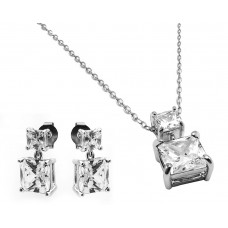 Sterling Silver Rhodium Plated Square Birthstone CZ Hanging Set April - BGS00439APR