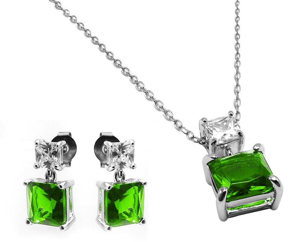 Wholesale Sterling Silver 925 Rhodium Plated Square Birthstone CZ Hanging Set  - BGS00439