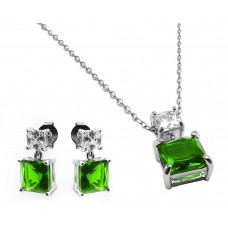 Sterling Silver Rhodium Plated Square Birthstone CZ Hanging Set August - BGS00439AUG