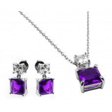 Sterling Silver Rhodium Plated Square Birthstone CZ Hanging Set February - BGS00439FEB