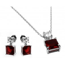 Sterling Silver Rhodium Plated Square Birthstone CZ Hanging Set January - BGS00439JAN