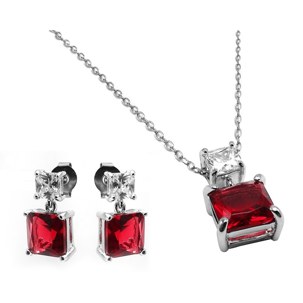 Sea Of Diamonds 925 Sterling Silver Rhodium Plated Square Created Ruby Earring Pendant Necklace Set
