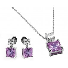 Sterling Silver Rhodium Plated Square Birthstone CZ Hanging Set June - BGS00439JUN