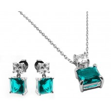 Sterling Silver Rhodium Plated Square Birthstone CZ Hanging Set March - BGS00439MAR