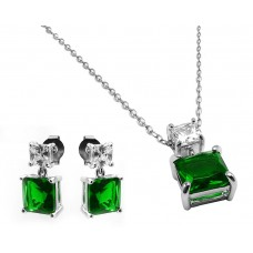 Sterling Silver Rhodium Plated Square Birthstone CZ Hanging Set May - BGS00439MAY