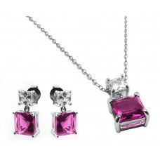 Sterling Silver Rhodium Plated Square Birthstone CZ Hanging Set October - BGS00439OCT