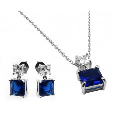 Sterling Silver Rhodium Plated Square Birthstone CZ Hanging Set September - BGS00439SEP
