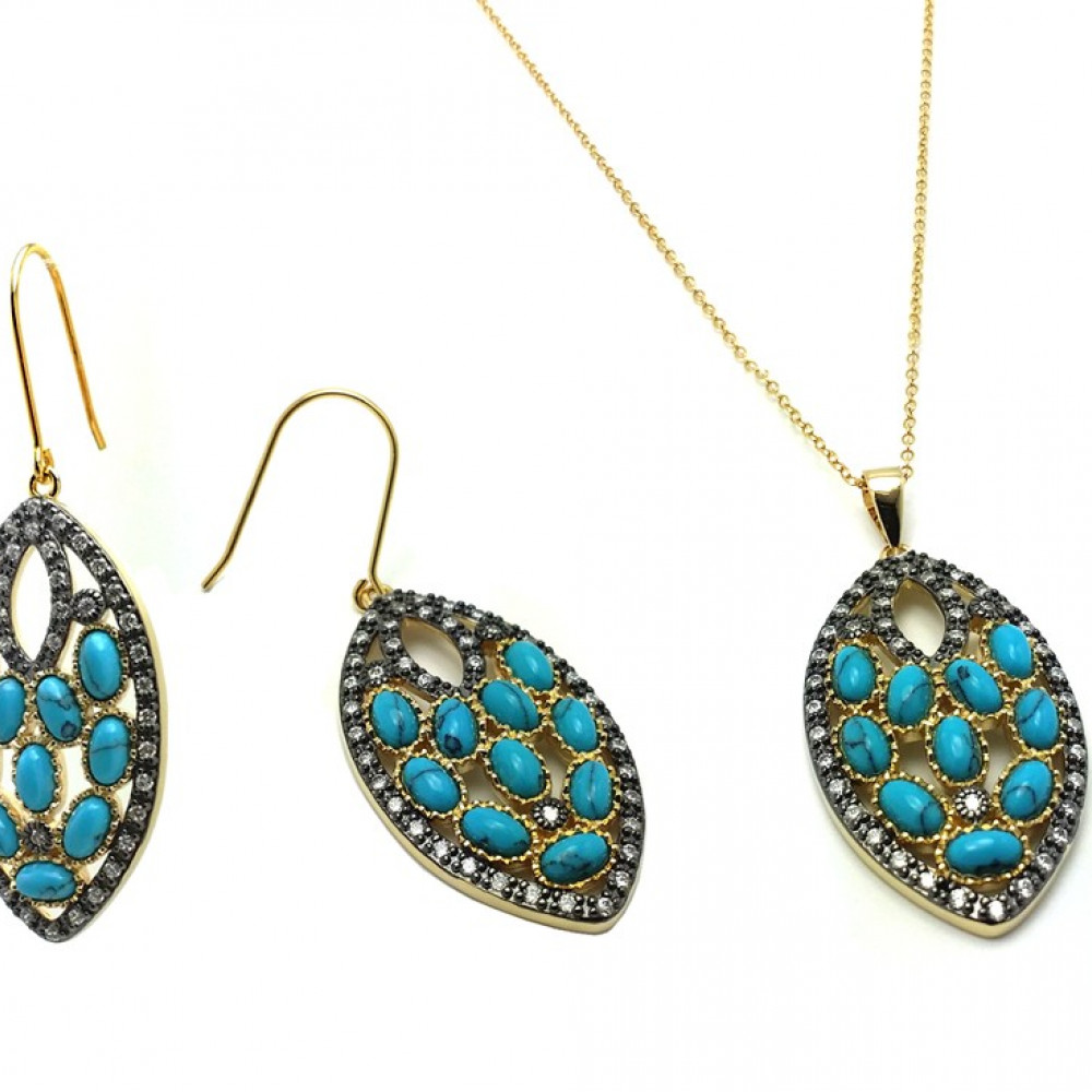 Wholesale Sterling Silver 925 Black Rhodium and Gold Plated Turquoise Marquise Shaped  Set - BGS00438
