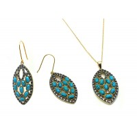 Wholesale Sterling Silver 925 Black Rhodium and Gold Plated Turquoise Marquise Shaped Clear Hook Stud Earring and Necklace Set - BGS00438