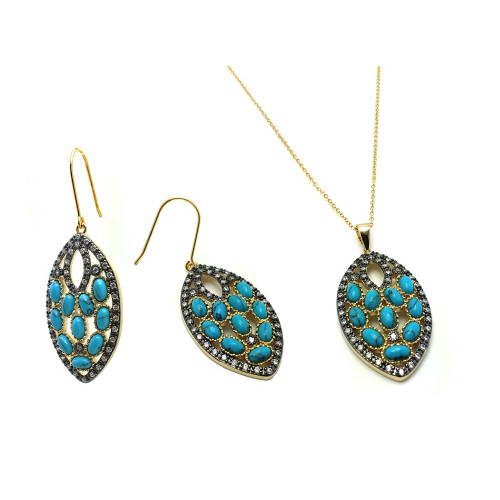 -Closeout- Wholesale Sterling Silver 925 Black Rhodium and Gold Plated Turquoise Marquise Shaped  Set - BGS00438
