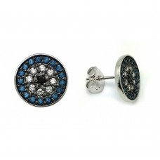 Wholesale Sterling Silver 925 Rhodium Plated Blue and Black and Clear CZ Inlay Stud Earrings - BGE00405