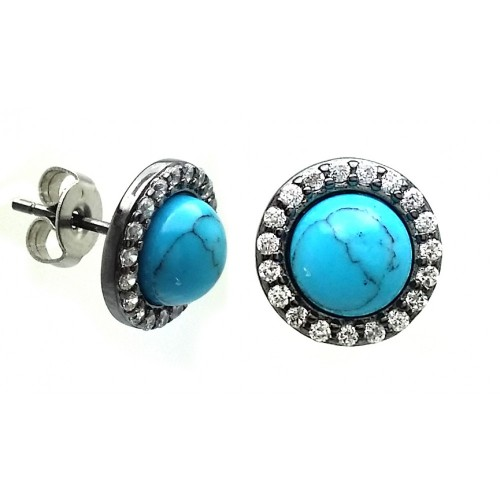 Wholesale Sterling Silver 925 Black Rhodium Plated Round Clear CZ Turquoise Center Stud Earrings - BGE00408