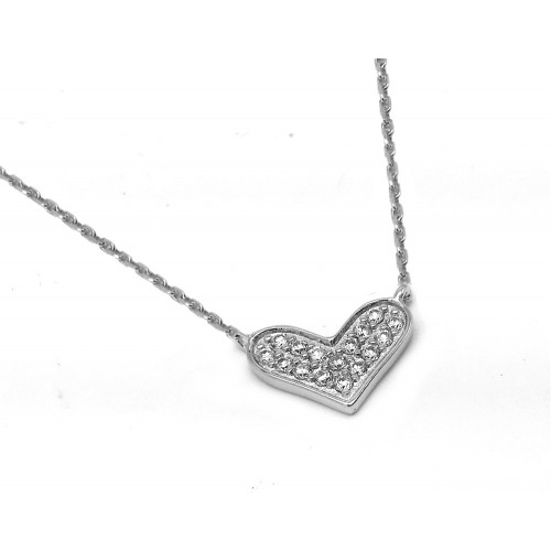 Wholesale Sterling Silver 925 Rhodium Plated Clear CZ Wide Heart Pendant Necklace - BGP00943CLR