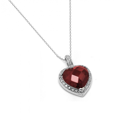 Wholesale Sterling Silver 925 Rhodium Plated Clear and Red CZ Heart Pendant Necklace - BGP00936GAR