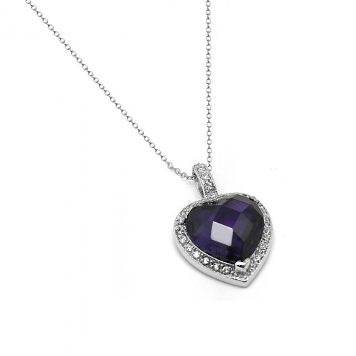Wholesale Sterling Silver 925 Rhodium Plated Clear and Purple CZ Heart Pendant Necklace - BGP00936PUR