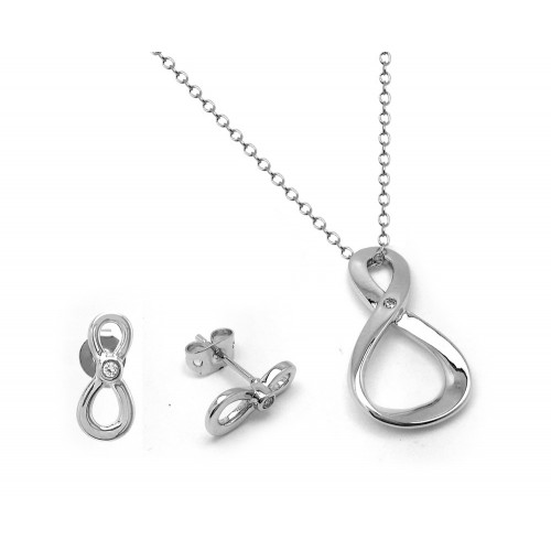 Wholesale Sterling Silver 925 Rhodium Plated Figure 8 Infinity Single Set Clear CZ Stud Earring and Necklace Set - BGS00442