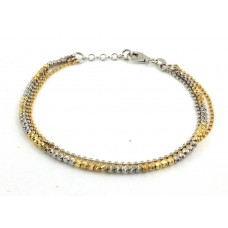 Sterling Silver Rhodium & Gold Plated Beaded Italian Bracelet ITB00157RH-RGP