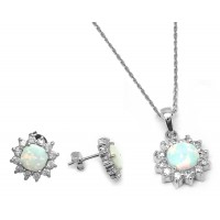 Wholesale Sterling Silver 925 Rhodium Plated Opal Sun CZ Stud Earring and Necklace Set - STS00488