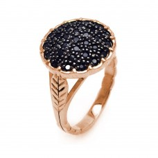 **Closeout** Wholesale Sterling Silver 925 Rose Gold Plated Black CZ Circle Ring - STR00586RGP