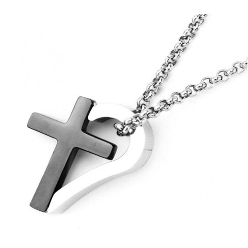 Wholesale Stainless Steel Black Rhodium Plated Two Tone Cross Heart Pendant - SSP00489