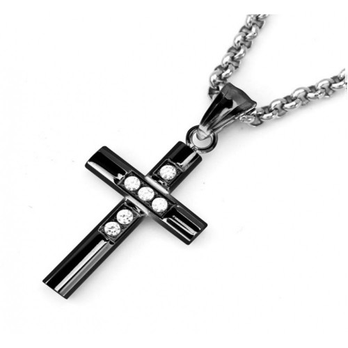 Wholesale Stainless Steel Black Rhodium Plated Cross Clear CZ Pendant - SSP00490B
