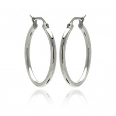 Wholesale Stainless Steel Plain Round Hoop Earring - SSE00042