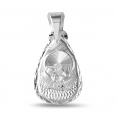 Wholesale Sterling Silver 925 High Polished Teardrop Shape DC Baptism Medallion - JCA032-7
