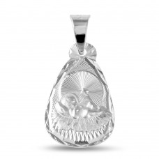 Wholesale Sterling Silver 925 High Polished Teardrop Shape DC Baptism Medallion - JCA036-7