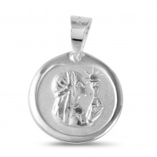 Wholesale Sterling Silver 925 High Polished DC Communion Medallion Matte Finish for Girl - JCA012-10