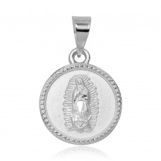 Wholesale Sterling Silver 925 High Polished Our Lady of Guadalupe Charm Pendant - JCA013-1