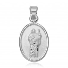 Wholesale Sterling Silver 925 High Polished St. Jude Medallion Charm Pendant - JCA017-5