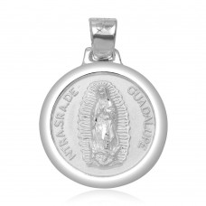 Wholesale Sterling Silver 925 High Polished Our Lady Of Guadalupe Round Charm Pendant - JCA019-1