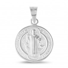 Wholesale Sterling Silver 925 High Polished Saint Benedict Medallion 16.5mm - JCA024-R13