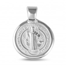 Wholesale Sterling Silver 925 High Polished St. Benedict Medallion 18mm - JCA027-BL15
